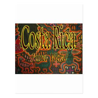 Arte popular Pura Vida de Costa Rica Cartão Postal