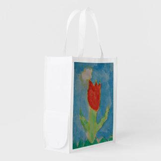 Arte por crianças, pintura da aguarela, tulipa, sacolas reusáveis