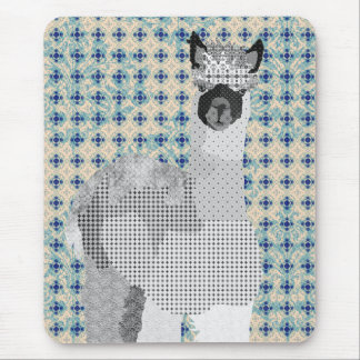Arte preta azul retro Mousepad da alpaca