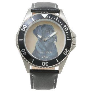 arte preta do realista do retrato do cão de relógio