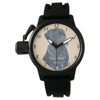 arte preta do realista do retrato do cão de relógios de pulso