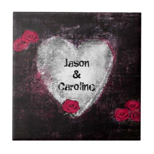 Arte preta elegante do Grunge do coração e das ros Azulejos De Cerâmica