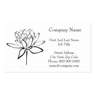 Arte preto e branco do desenho da tinta da flor de cartão de visita