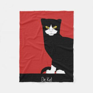 Arte preto e branco moderna do gato cobertor de velo