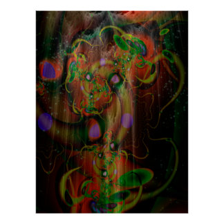 Arte psicadélico da árvore poderosa do cogumelo poster