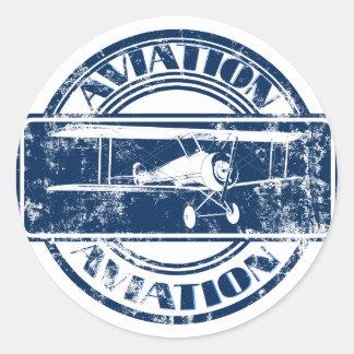 Arte retro da aviação adesivos redondos