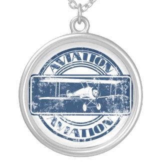 Arte retro da aviação colar com pendente redondo