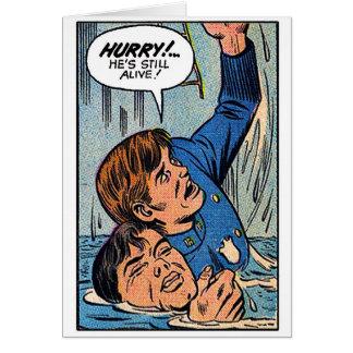 Arte retro da banda desenhada da polícia do kitsch cartões