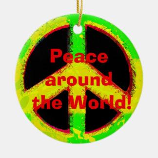 arte retro do sinal de paz do hippy dos anos 60 ornamento de cerâmica redondo