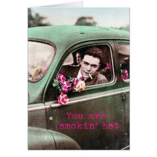 Arte retro quente de Digitas do vintage de Smokin, Cartão Comemorativo