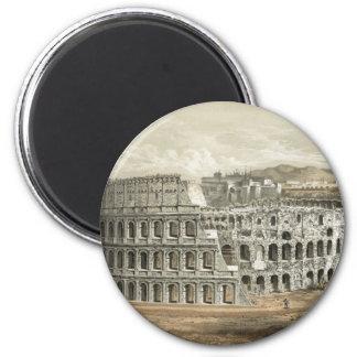 Arte romana do vintage do coliseu ímã redondo 5.08cm