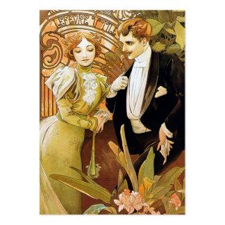 Arte romântica Nouveau do vintage da namoradeira Cartões De Visita