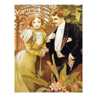 Arte romântica Nouveau do vintage da namoradeira Modelo De Panfleto