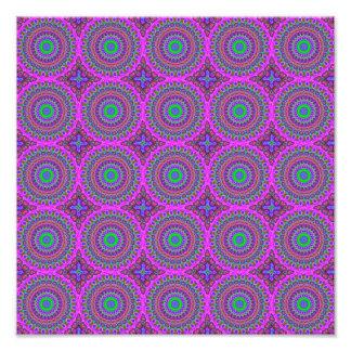 Arte roxa retro do Fractal do teste padrão Impressão De Foto
