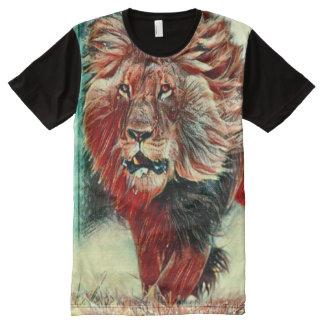 Arte Running colorida do giz do leão Camisetas Com Impressão Frontal Completa