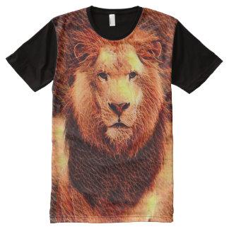 Arte selvagem colorida do Fractal do leão Camisetas Com Impressão Frontal Completa