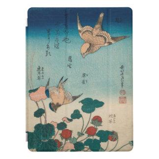 Arte Shrike do vintage de Hokusai e Bluebird Capa Para iPad Pro
