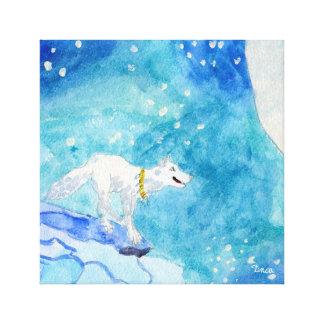 Arte solitária da parede das canvas do lobo branco