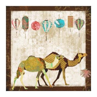 Arte sonhadora das canvas da viagem dos camelos impressão em tela