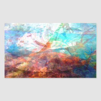 Arte subaquática de inspiração bonita da cena adesivo retangular