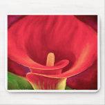 Arte tropical da flor do lírio vermelho de Cala -  Mouse Pads