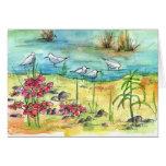 Arte vazia da natureza da aguarela do cartão de no