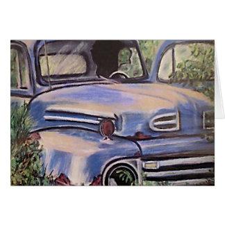 Arte velha do caminhão do vintage cartão comemorativo