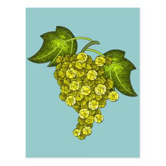 Arte verde das uvas do mosaico cartoes postais