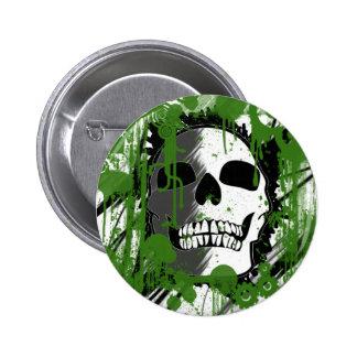arte verde dos grafites da cabeça do crânio bóton redondo 5.08cm