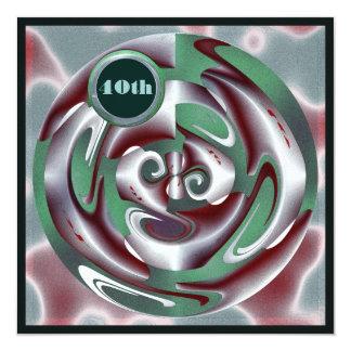 Arte verde e vermelha do aniversário de 40 anos de convite quadrado 13.35 x 13.35cm