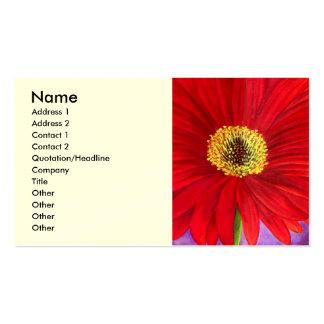 Arte vermelha da pintura da flor de Gerber da marg Cartões De Visita