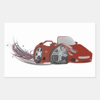 Arte vermelha do carro de esportes dos desenhos adesivo retangular