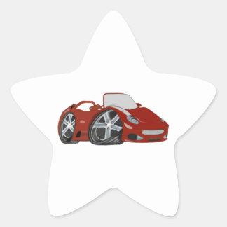 Arte vermelha do carro dos desenhos animados adesito estrela