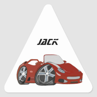 Arte vermelha do carro dos desenhos animados adesivo triangular