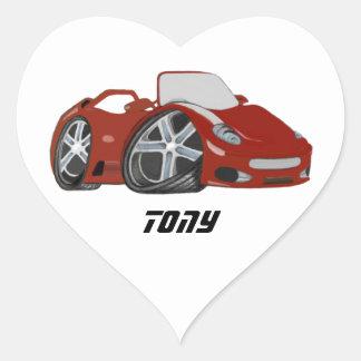 Arte vermelha do carro dos desenhos animados adesivo coração