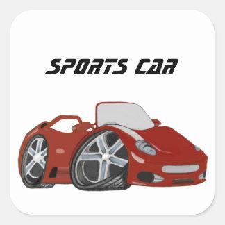 Arte vermelha do carro dos desenhos animados adesivo quadrado