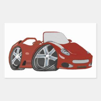 Arte vermelha do carro dos desenhos animados adesivo retangular