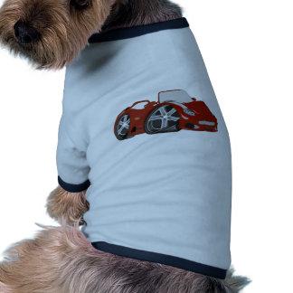 Arte vermelha do carro dos desenhos animados camiseta para cães