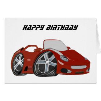 Arte vermelha do carro dos desenhos animados cartão comemorativo