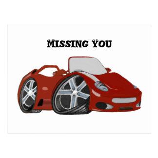 Arte vermelha do carro dos desenhos animados cartão postal
