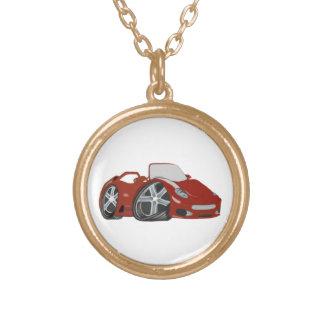Arte vermelha do carro dos desenhos animados colar personalizado