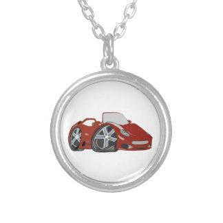 Arte vermelha do carro dos desenhos animados colar com pendente redondo