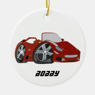 Arte vermelha do carro dos desenhos animados ornamento de cerâmica redondo