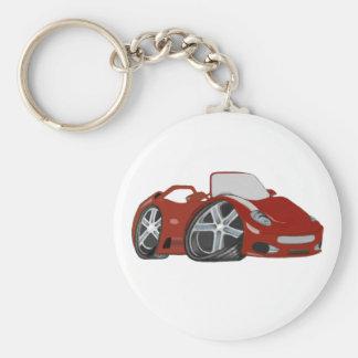 Arte vermelha do carro dos desenhos animados chaveiros