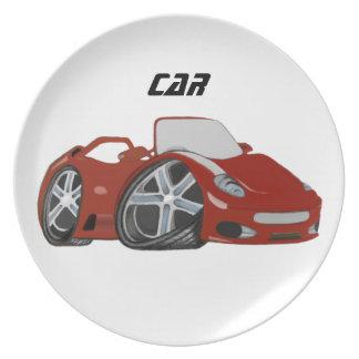 Arte vermelha do carro dos desenhos animados pratos