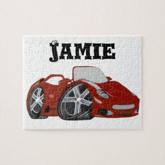 Arte vermelha do carro dos desenhos animados quebra-cabeça de foto