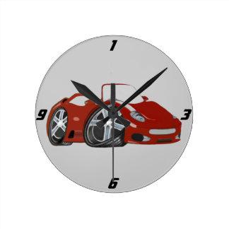 Arte vermelha do carro dos desenhos animados relógio de parede