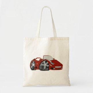 Arte vermelha do carro dos desenhos animados sacola tote budget