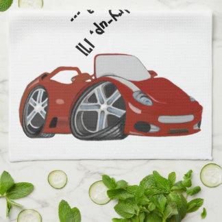 Arte vermelha do carro dos desenhos animados pano de prato