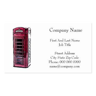 Arte vermelha do desenho da cabine de telefone de  cartoes de visitas
